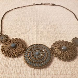 Jewelry - Statement Necklace - Turquoise & Antique Gold